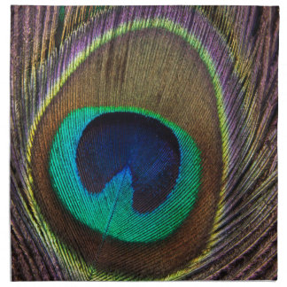 Peacock Feather Upright Close-Up Napkin
