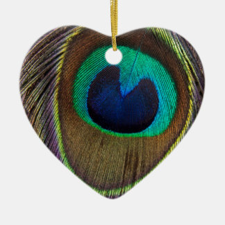 Peacock Feather Upside Down Close-Up Ceramic Heart Decoration