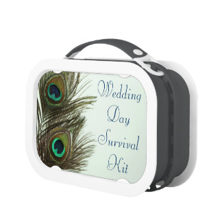 Peacock Feather Wedding Day Survival Kit Box Lunch Boxes