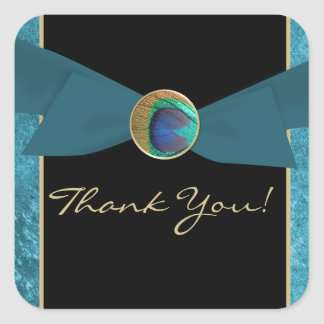 Peacock Feather Wedding Favor Thank You Stickers