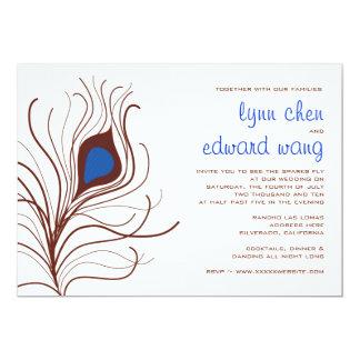 Peacock Feather Wedding Invitation - cobalt blue