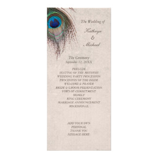 Peacock Feather Wedding Program Personalized Rack Card