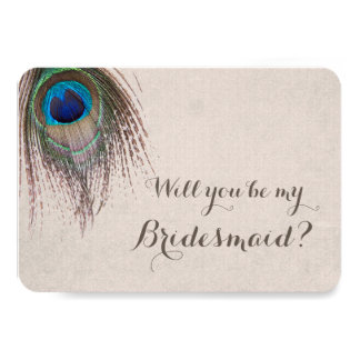Peacock Feather Will You Be My Bridesmaid 9 Cm X 13 Cm Invitation Card