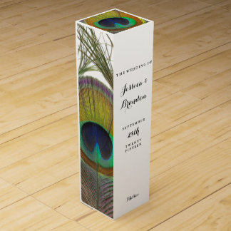 Peacock Feather Wine Gift Box