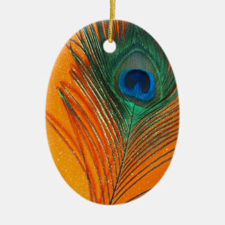 Peacock feather with Orange Glitter Still Life Christmas Ornament