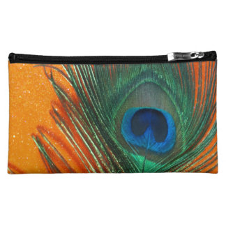 Peacock feather with Orange Glitter Still Life Cosmetic Bags