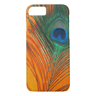 Peacock feather with Orange Glitter Still Life iPhone 8/7 Case