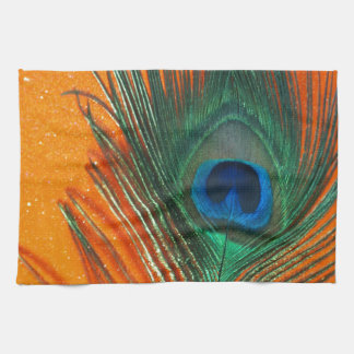 Peacock feather with Orange Glitter Still Life Kitchen Towel