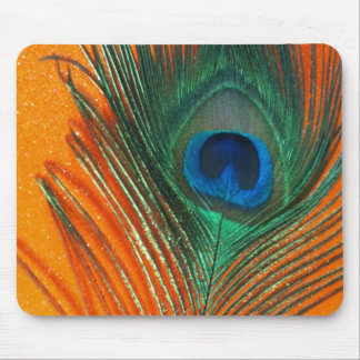 Peacock feather with Orange Glitter Still Life Mouse Mat
