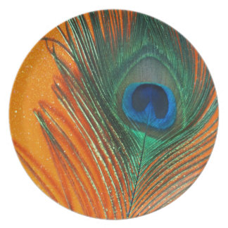 Peacock feather with Orange Glitter Still Life Plate