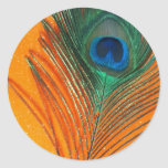 Peacock feather with Orange Glitter Still Life Round Stickers