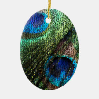 Peacock Feather with Stained Glass Effect Christmas Ornament