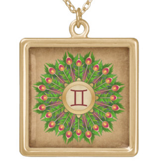 Peacock Feather Wreath Zodiac Sign Gemini Gold Plated Necklace