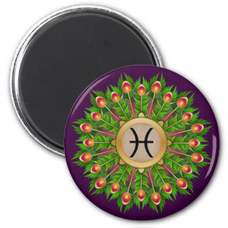 Peacock Feather Wreath Zodiac Sign Pisces 6 Cm Round Magnet