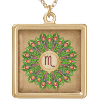 Peacock Feather Wreath Zodiac Sign Scorpio Gold Plated Necklace