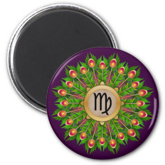 Peacock Feather Wreath Zodiac Sign Virgo 6 Cm Round Magnet