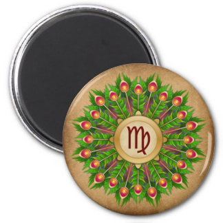 Peacock Feather Wreath Zodiac Sign Virgo Magnet
