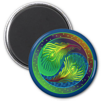 Peacock Feather Yin Yang 4 Magnet