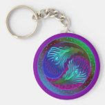 Peacock Feather Yin Yang 5 Key Chains