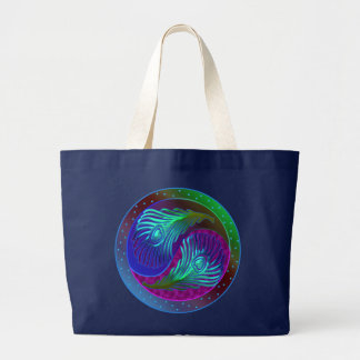 Peacock Feather Yin Yang 5 Large Tote Bag