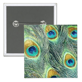 PEACOCK FEATHERS 15 CM SQUARE BADGE