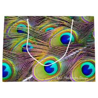 Peacock Feathers 5 Large Gift Bag