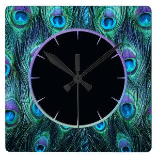 Peacock Feathers Aqua Clocks