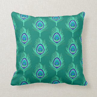 Peacock Feathers, Aqua on Turquoise / Peacock Throw Pillow