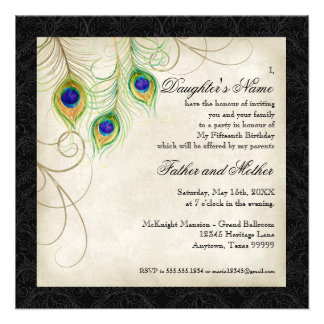Peacock Feathers Black Damask Quinceanera Party Personalized Announcement