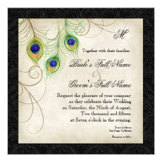 Peacock Feathers Black Damask Wedding Stationery Announcements