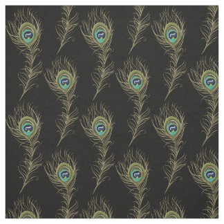 Peacock Feathers Black Fabric