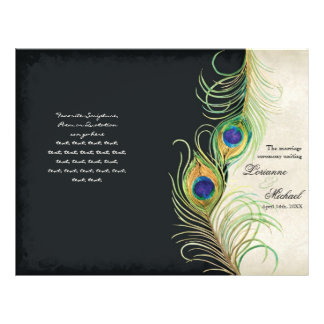 Peacock Feathers - Black, Wedding Program 21.5 Cm X 28 Cm Flyer