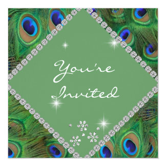 PEACOCK FEATHERS BLING MULTI PURPOSE INVITATION