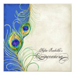 Peacock Feathers Blue Damask Quinceanera Party 13 Cm X 13 Cm Square Invitation Card