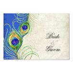 Peacock Feathers Blue Damask RSVP Response Card 9 Cm X 13 Cm Invitation Card