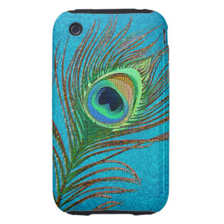 Peacock feathers blue iPhone3 phones iPhone 3 Tough Cases