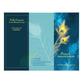 Peacock Feathers Blue Tri Fold Business Brochures 21.5 Cm X 28 Cm Flyer