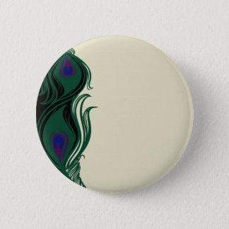Peacock Feathers Border 6 Cm Round Badge