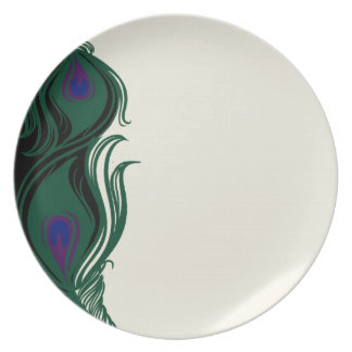 Peacock Feathers Border Plate