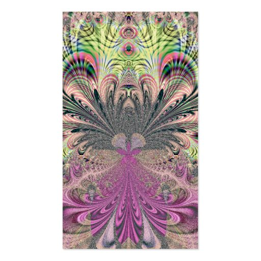 Peacock Feathers Bouquet Fractal Business Card Templates