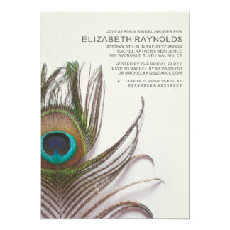 Peacock Feathers Bridal Shower Invitations