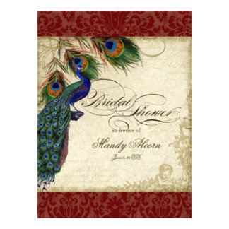 Peacock Feathers Bridal Shower Invite Burgundy