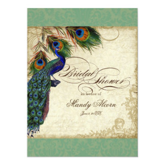 Peacock & Feathers Bridal Shower Invite  Green