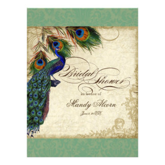 Peacock Feathers Bridal Shower Invite Green