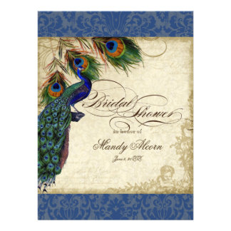 Peacock Feathers Bridal Shower Invite Navy Blue