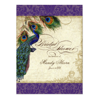 Peacock & Feathers Bridal Shower Invite Purple