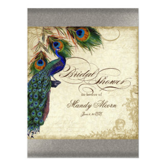 Peacock & Feathers Bridal Shower Silver Metallic 17 Cm X 22 Cm Invitation Card