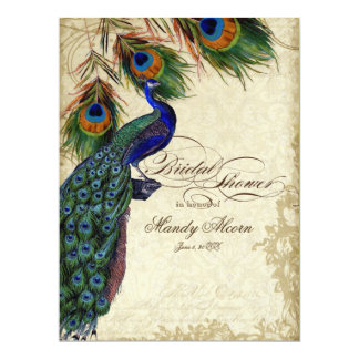 Peacock & Feathers Bridal Shower Tea Stained Card Invite