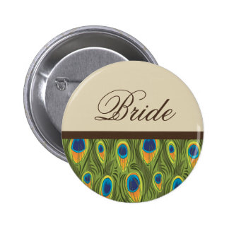 Peacock Feathers Bride Button