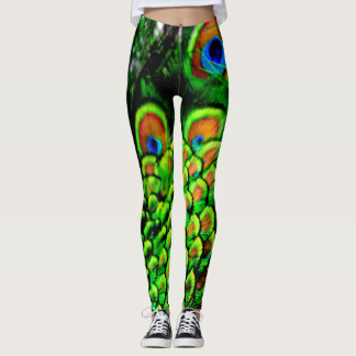 peacock feathers color leggings